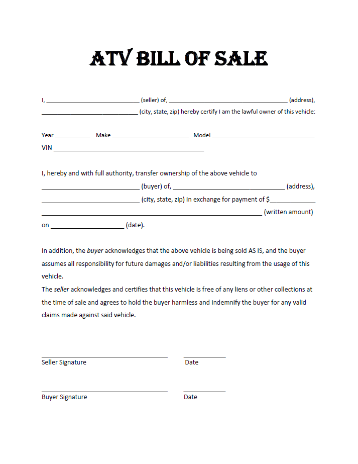 Atv Bill Of Sale Bill Of Sale Template Atv Word Template