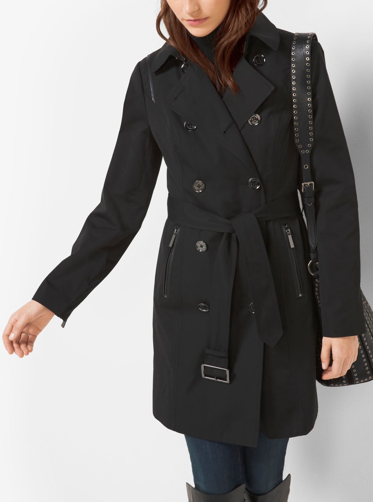 Faux LeatherTrimmed Trench Coat by Michael Kors Price