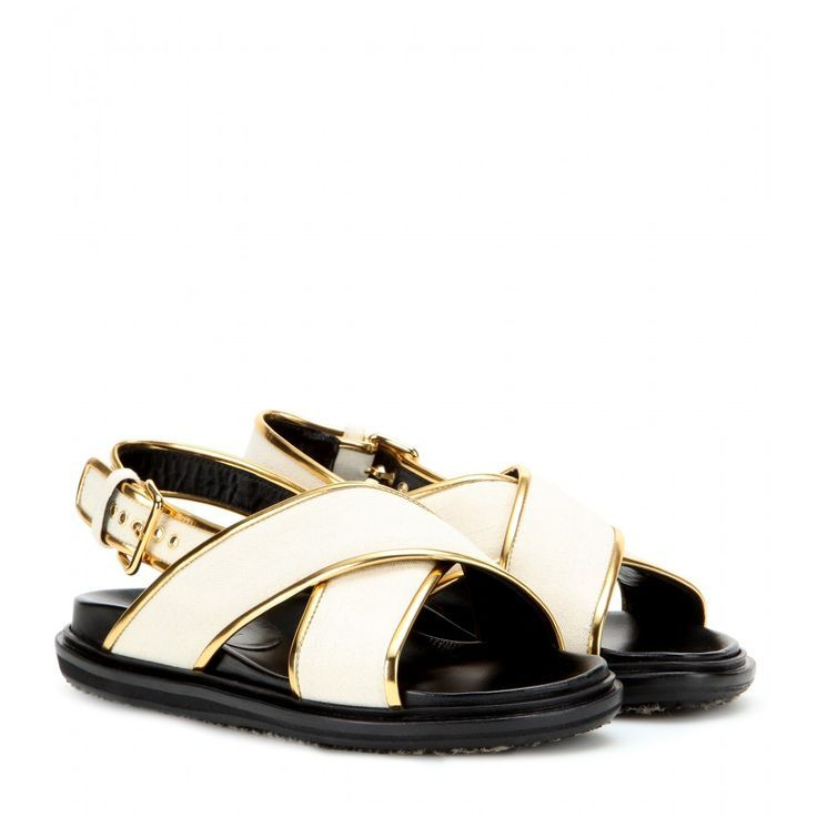 Marni Metallic Leather-Trimmed Sandals buy cheap wide range of T5izf