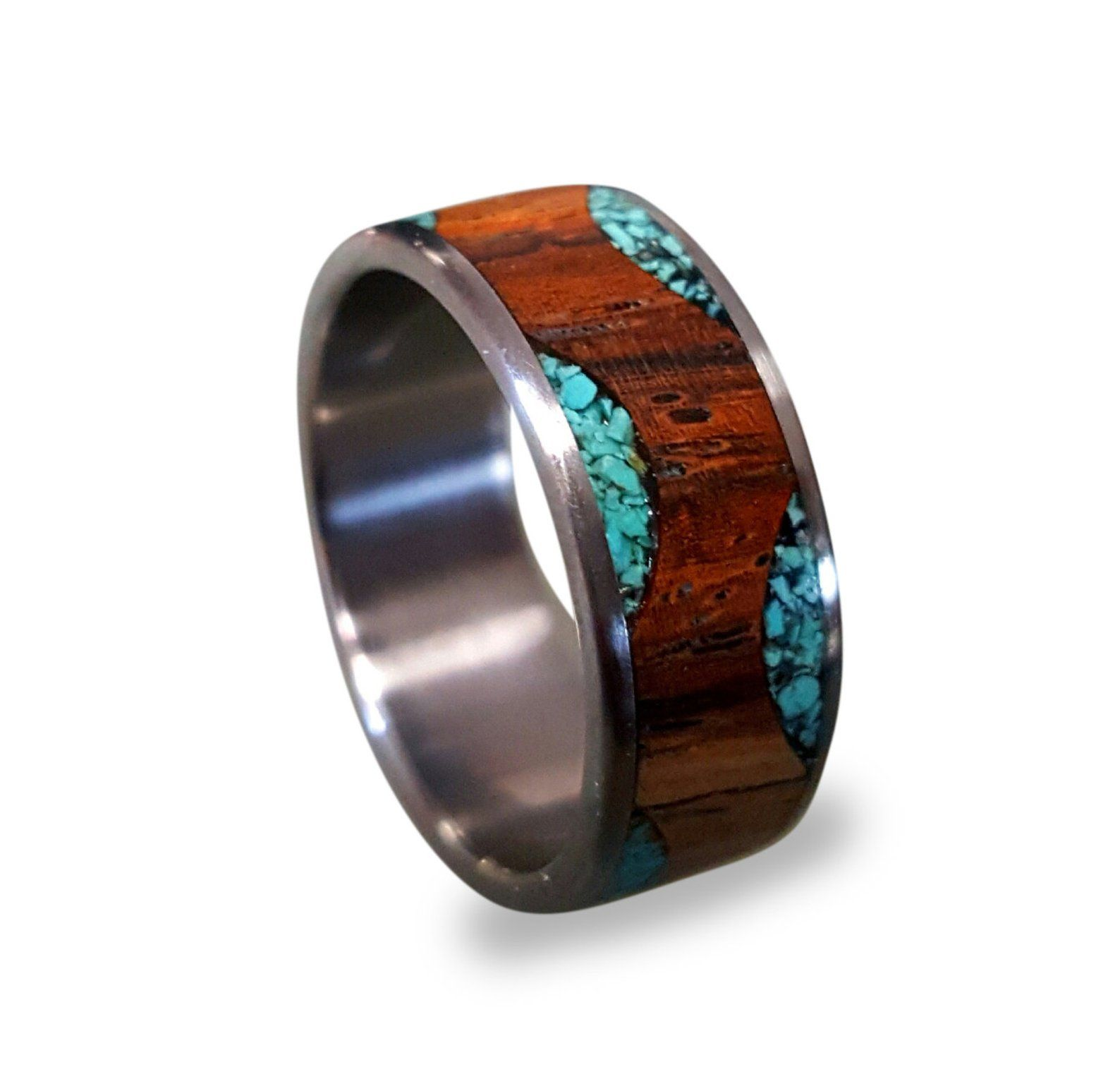 Mens Wedding Band Titanium Ring with Cocobolo Wood and