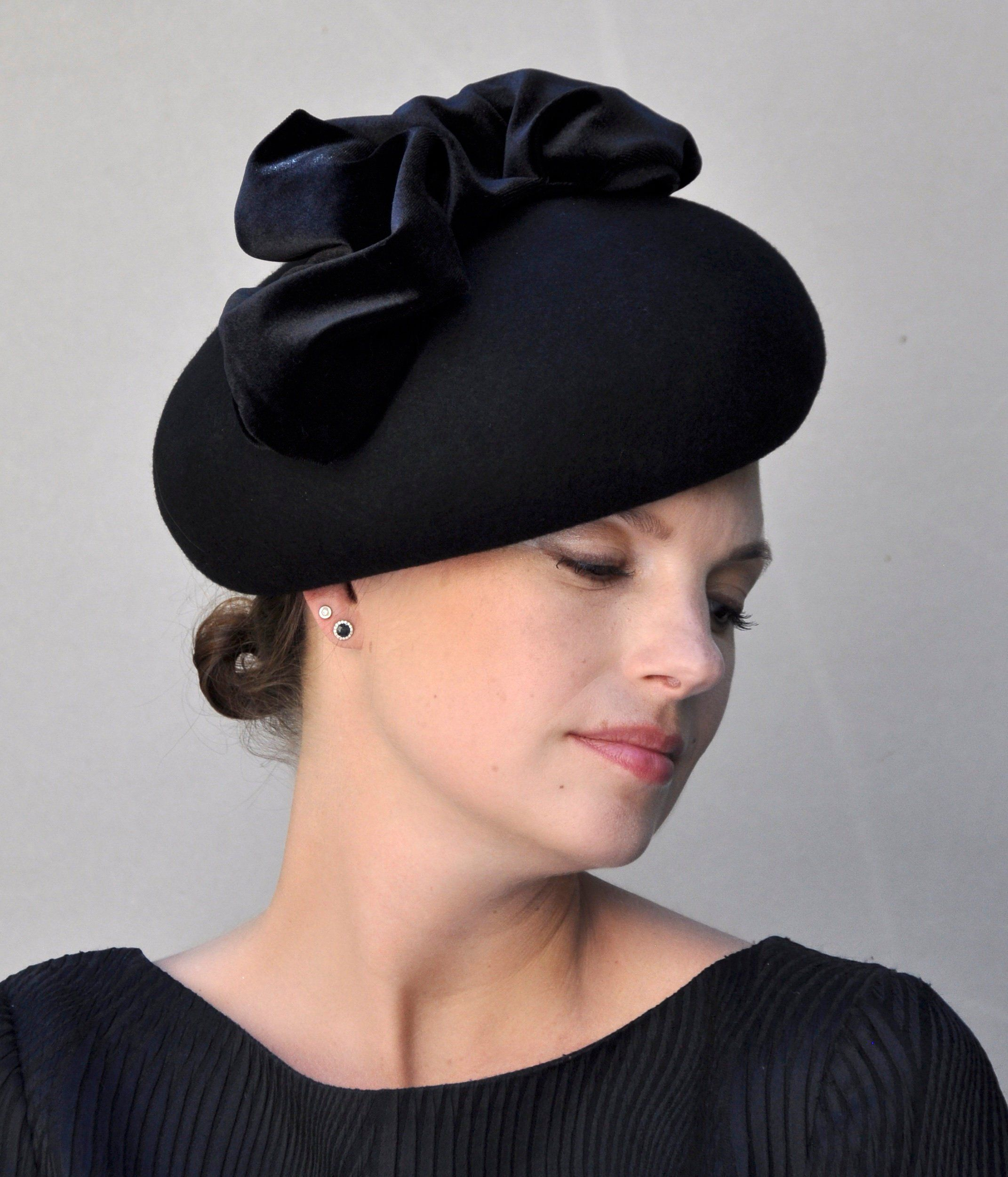 a4c68589 Women's Black Hat. Ladies Black Hat, Formal Hat, Formal Winter Hat, Church  Hat, Funeral Hat, Mourning Hat