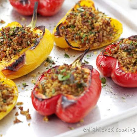 Sicilian Stuffed Peppers Vegan Recipe Recipe Stuffed Peppers Recipes Bbc Good Food Recipes