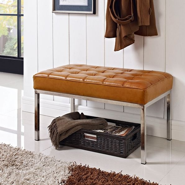 Studio Small Tan Leather Bench Modern Classic Design Tufted Bench Eurway Leather Bench Modway Seater