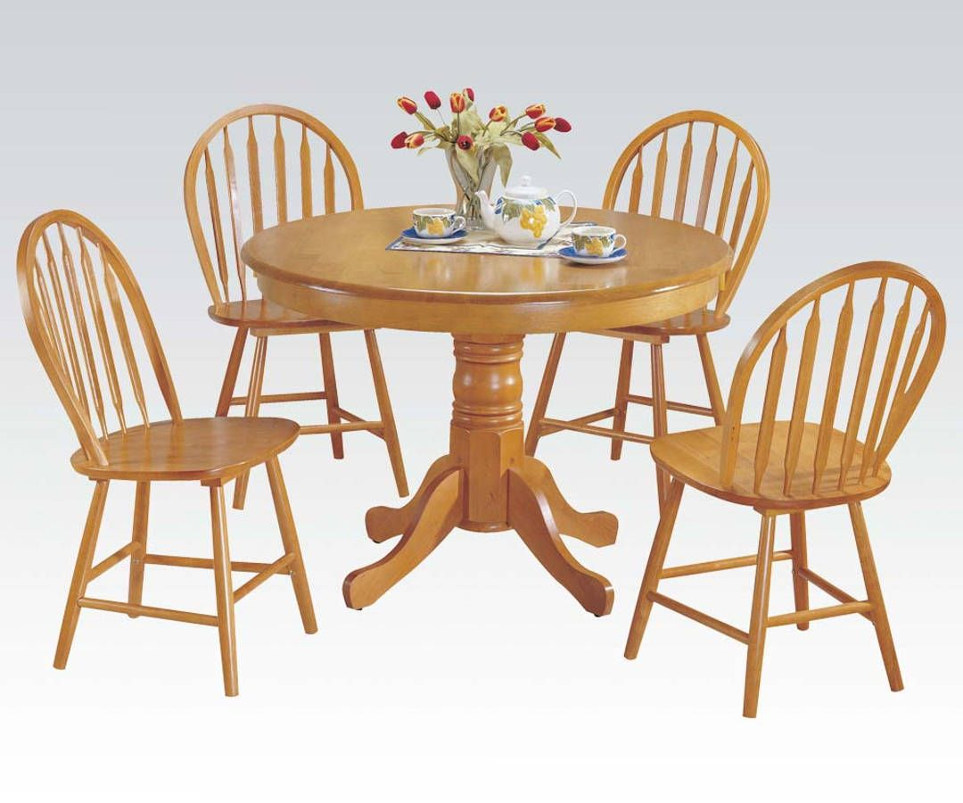 Farmhouse Oak Solid Wood 5pc Pack Round Dining Set (With ...