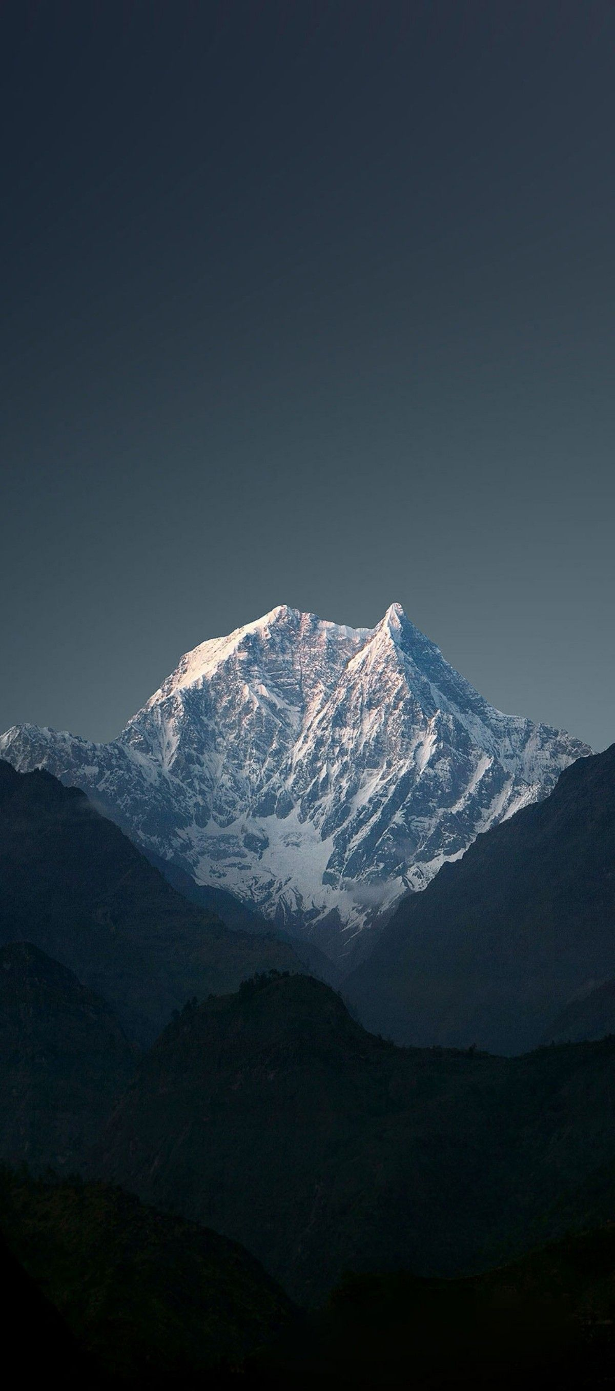 iOS 11, iPhone X, dark, sky, mountain, simple, photography