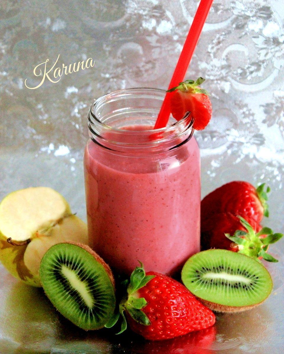 Batido de frutas fruit smoothie fresa kiwi manzana - Batidos de kiwi ...