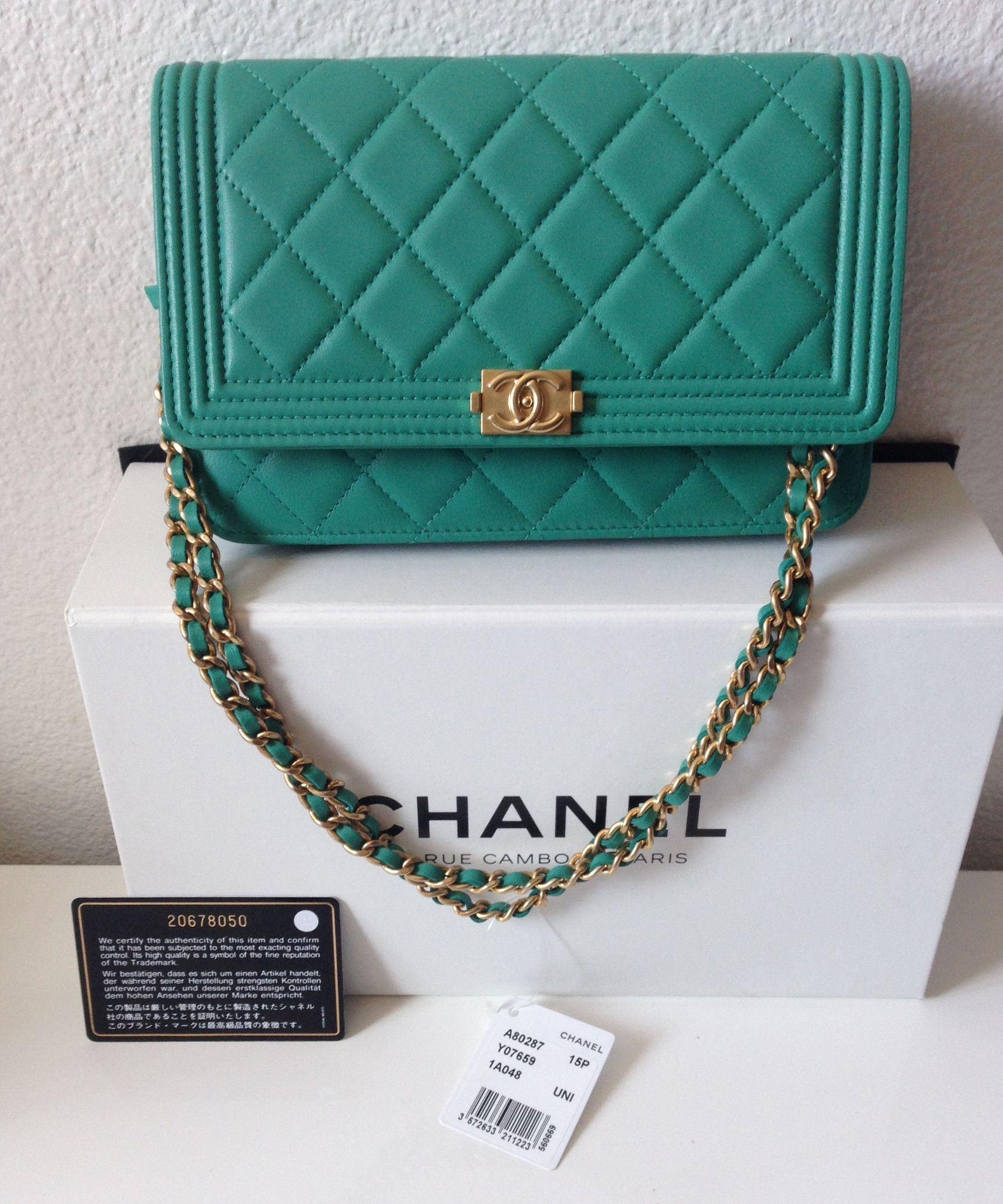 962674e2447207 NEW-Chanel Boy Woc Wallet on Chain Ghw Clutch Flap Mint Green Cross Body Bag