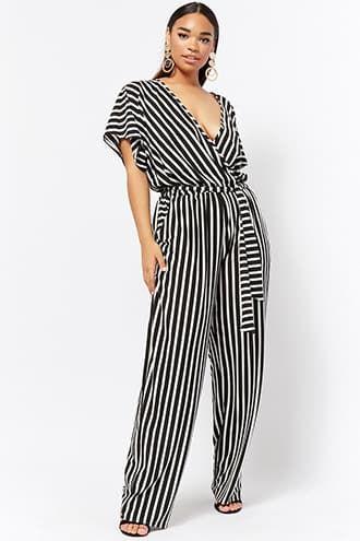 3bdecb0c172 Plus Size Striped Surplice Jumpsuit