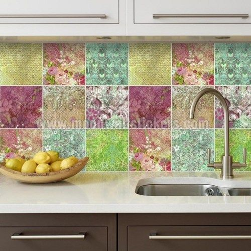 Wall Tile Stickers Fl Patchwork