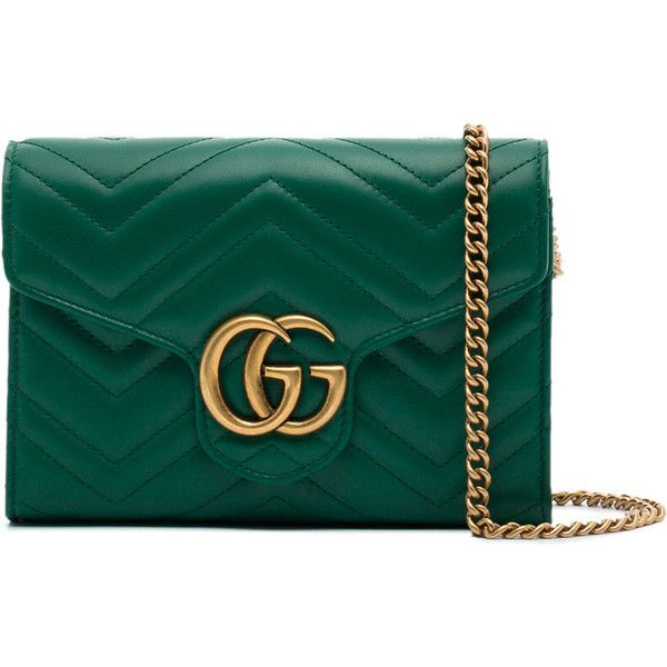 ddd23b097769 Gucci small green GG Marmont matelassé shoulder bag (€1.220) ❤ liked on  Polyvore featuring bags