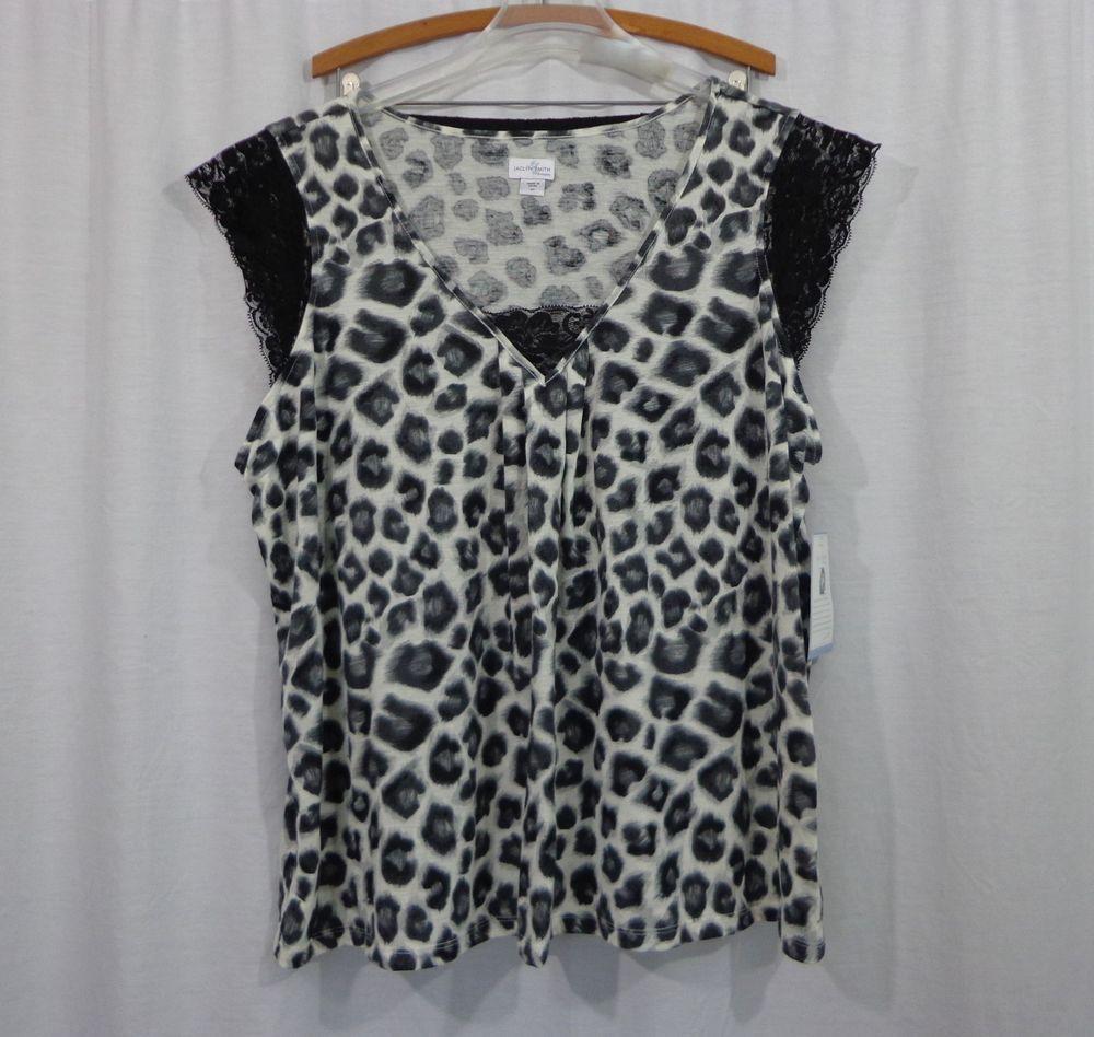 f5826d24e87 NEW Womens Plus JACLYN SMITH Animal Print Knit Shirt Shorts Pajama ...