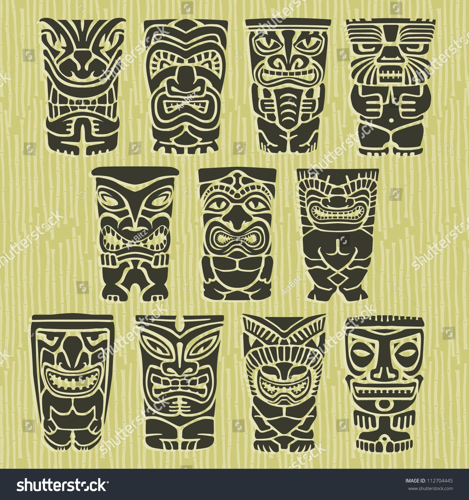 Vintage Carved Polynesian Tiki Totem Vector Idol Masks | Tattoo ...