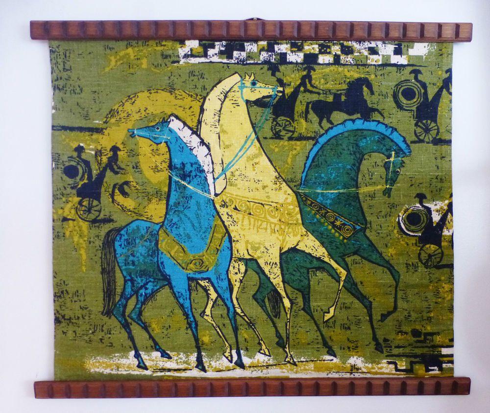 MID CENTURY 1960\'S LINEN RETRO HORSE CHARIOT FABRIC TEAK TRIM WALL ...