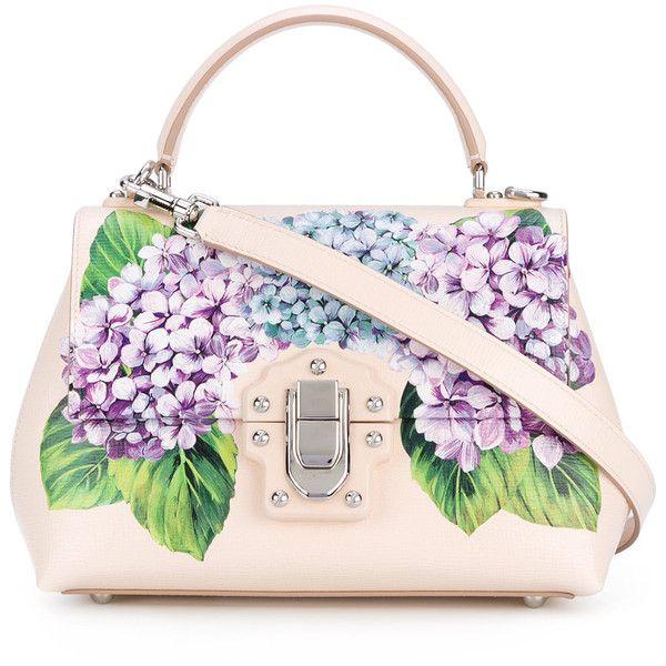 Dolce & Gabbana floral Lucia shoulder bag (19 375 SEK) ❤ liked on Polyvore featuring bags, handbags, shoulder bags, pink purse, pink shoulder bag, leather purses, genuine leather handbags and leather handbags