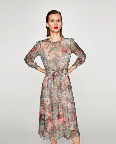 0c4cc7e6c85fe MIDI DRESS WITH SHIRRED WAIST-View all-DRESSES-WOMAN | ZARA United ...