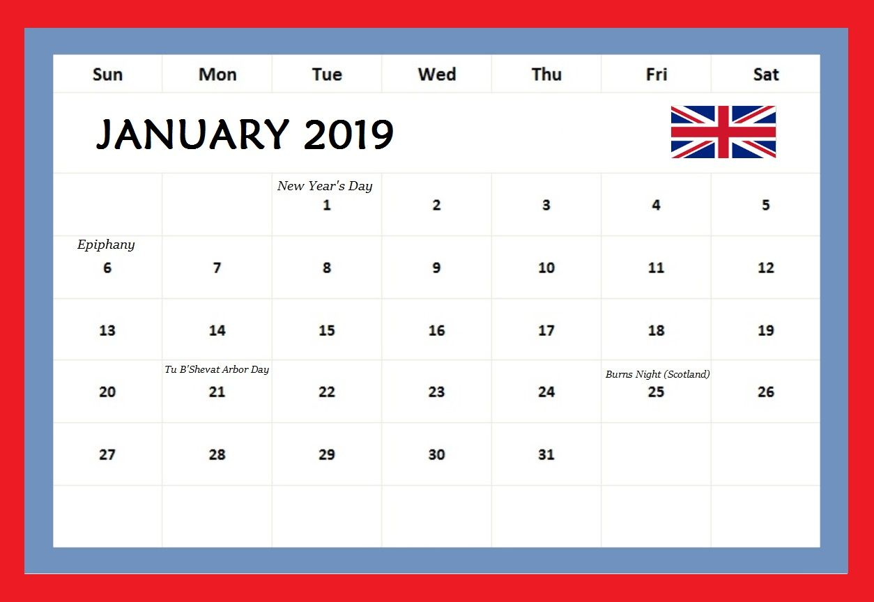 january 2019 calendar united kingdom uk holidays