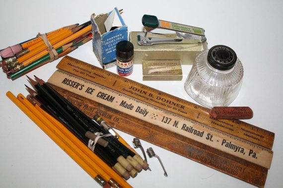 9ffa3bc6dbaba Vintage 1950 to 60s office & school supplies lot, pencils,rulers ...
