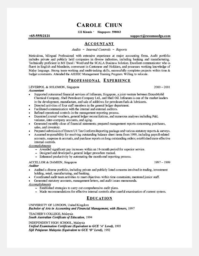 Good Resume Format For Experienced Accountant Http Www Resumecareer Info Good Resume Format For Experienced Accountant 11