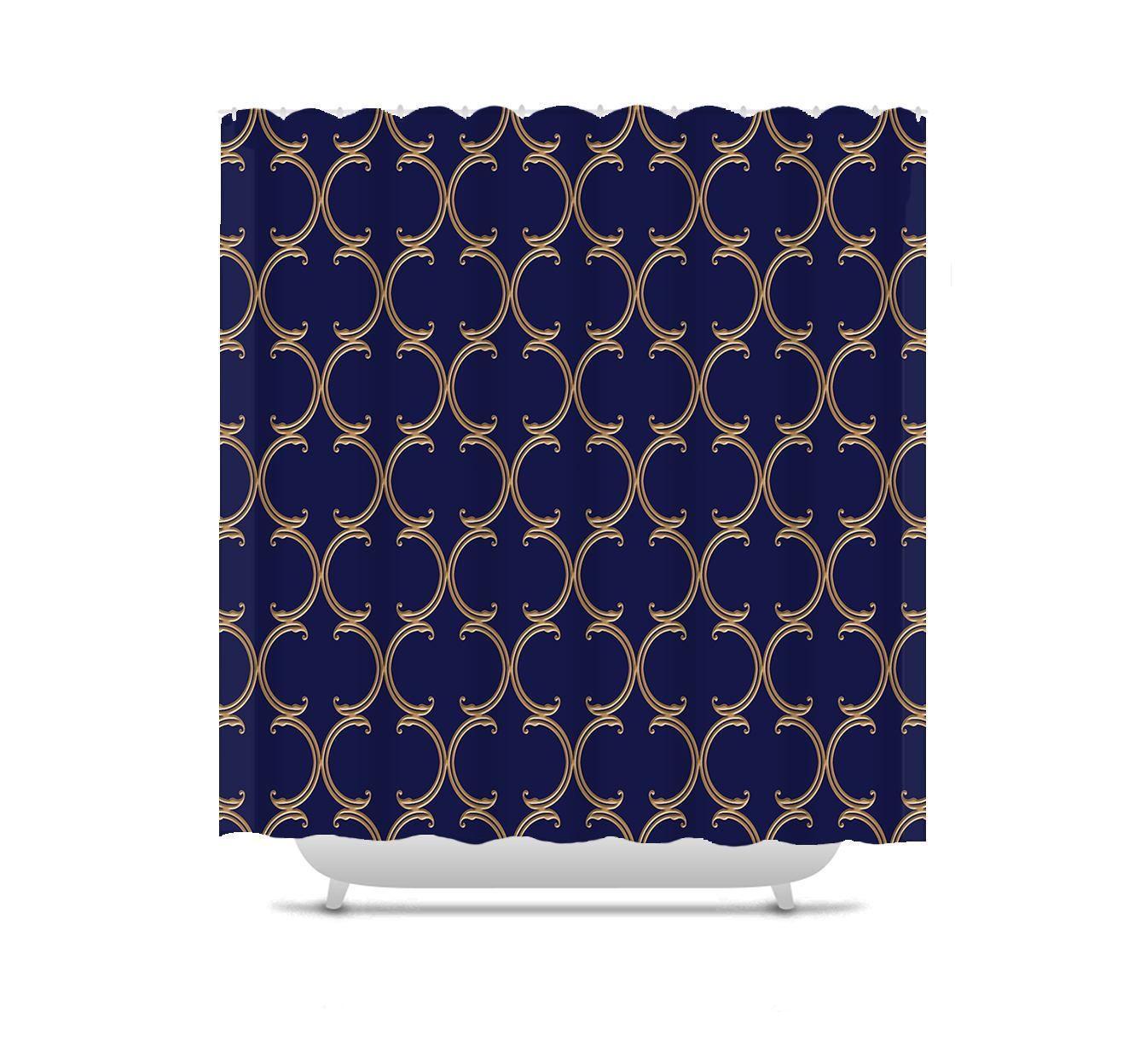 Moroccan Shower Curtain, faux gold lattice on purple