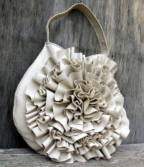 Pearl Leather Ruffle Bag