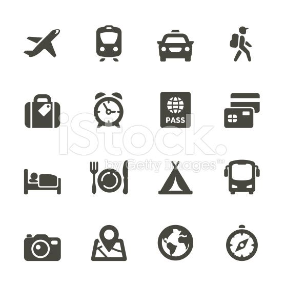 Traveling and transport icons royalty-free stock vector art