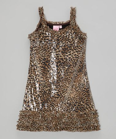f746b4f4 Another great find on #zulily! Black & Tan Leopard Sparkle Dress - Toddler  & Girls #zulilyfinds