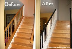 Best Banister Tutorial Trim Stair Makeover Oak Banister 400 x 300