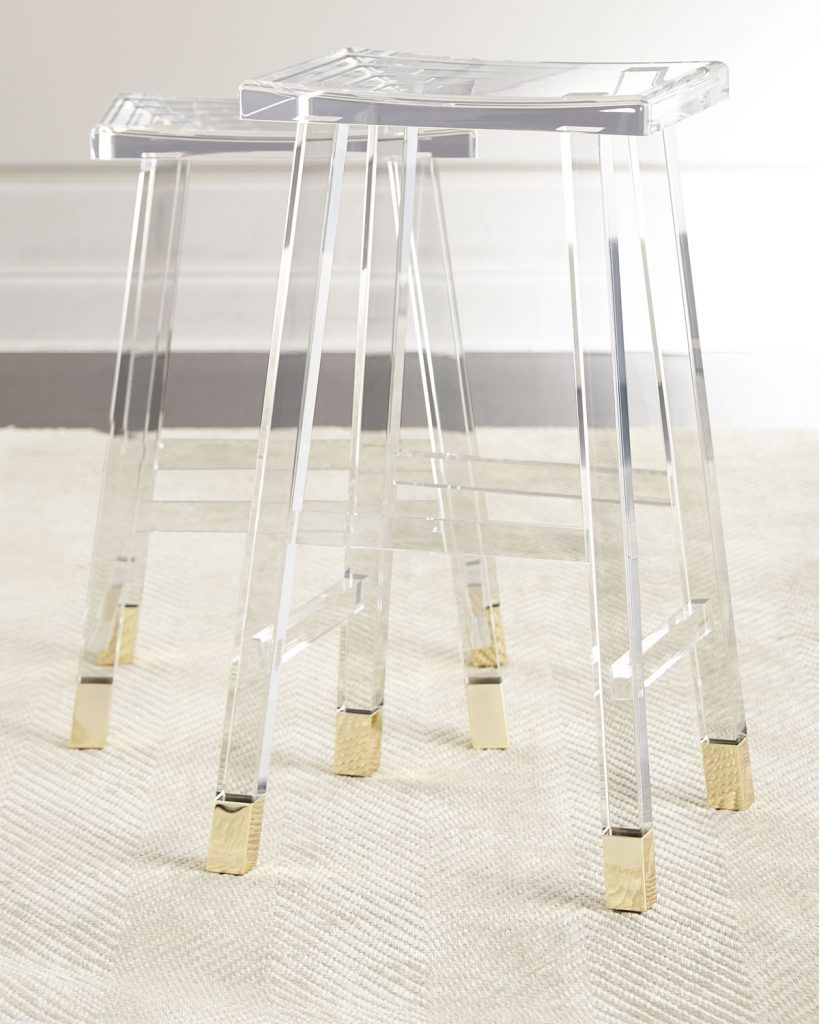 Lucite acrylic brass counter stools barstool