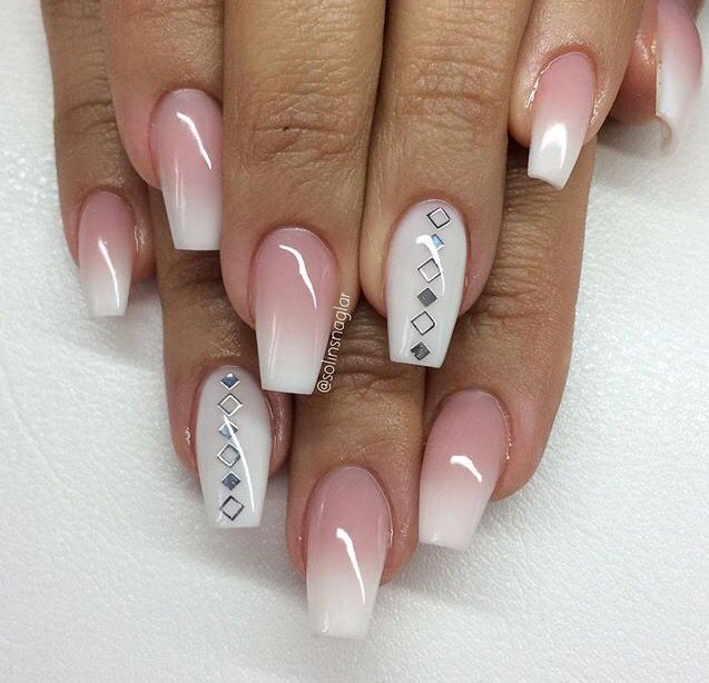 Clear White Ombre Nails Ombre Nails Nail Designs French Nails