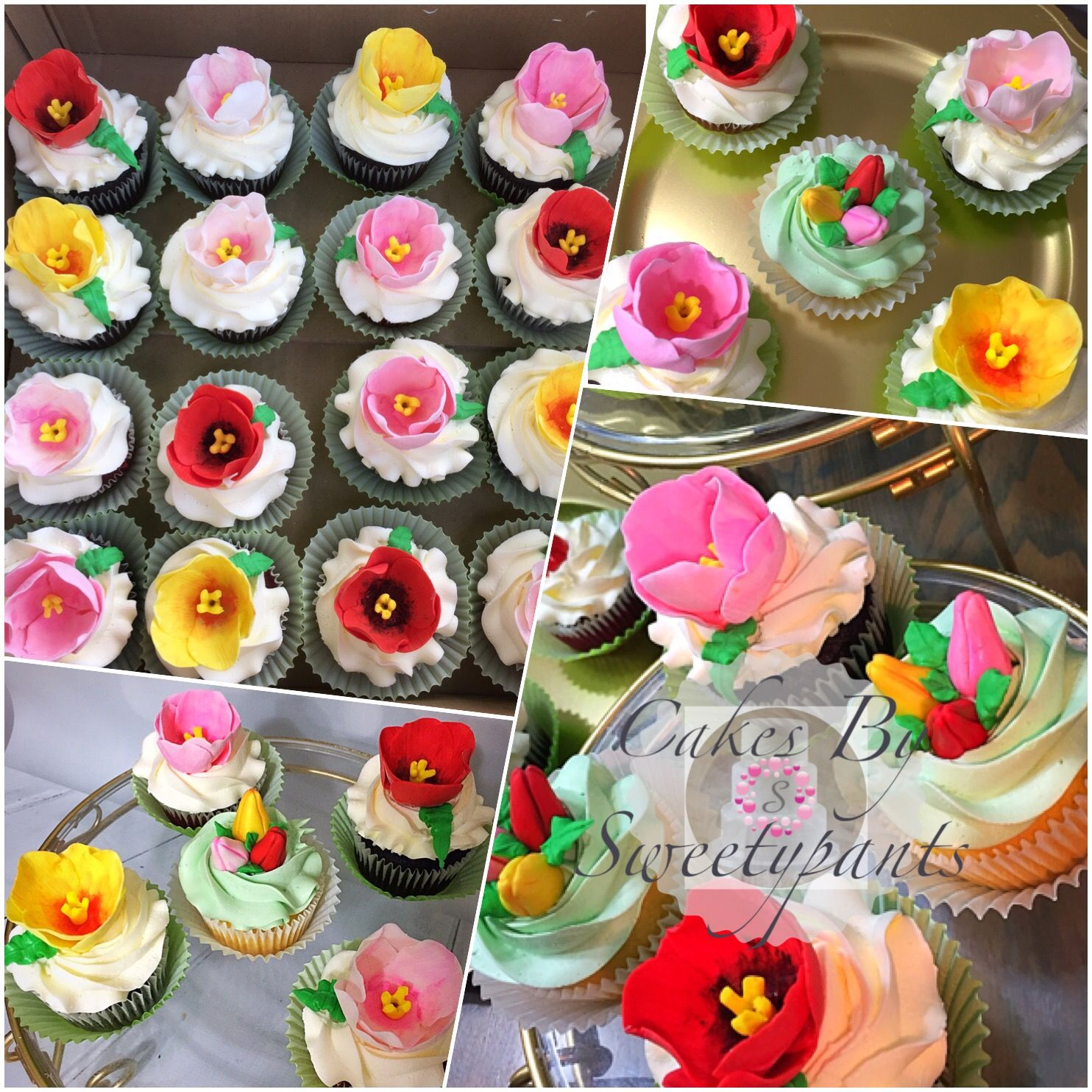 Sugar tulip cupcakes for wedding shower