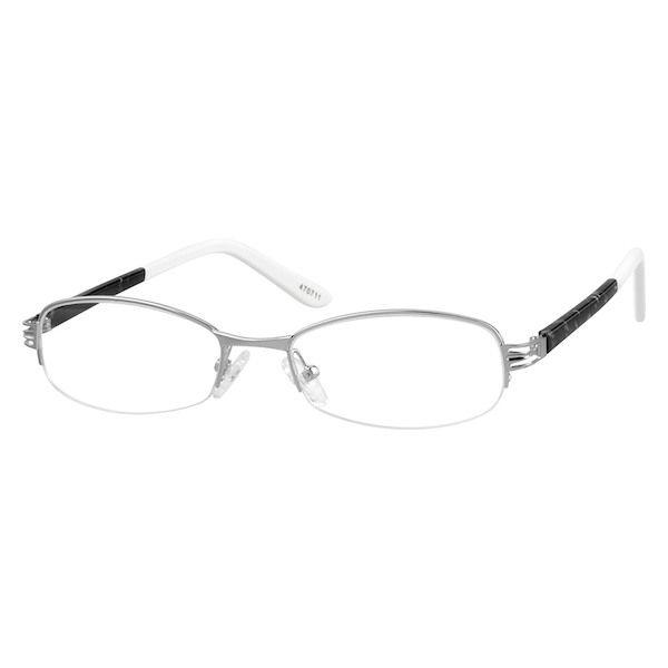 83c858e3648 Zenni Womens Oval Prescription Eyeglasses Half-Rim Silver Plastic 470711