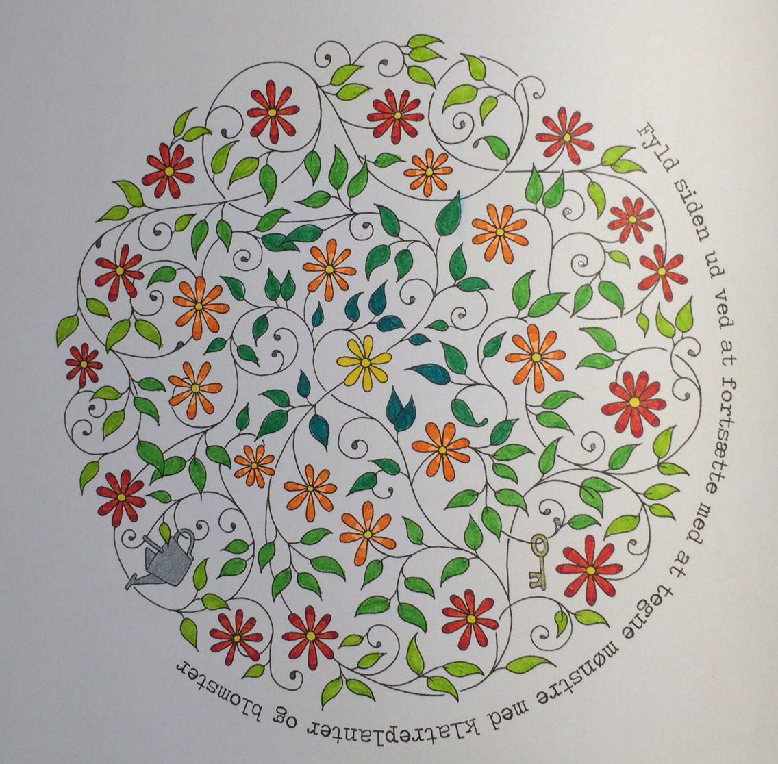 Flower Circle From Johanna Basfords Secret Garden Triplus FinelinerGel PensAdult ColoringColoring BooksCircles