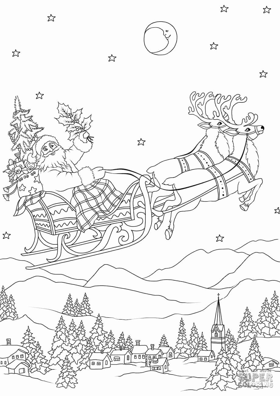 Santa Sleigh Coloring Page Awesome Santa Sleigh Coloring Pages