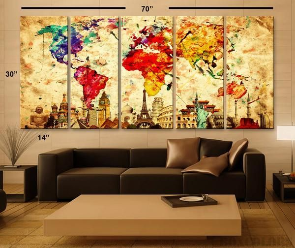 Xlarge 30x 70 5 Panels 30x14 Ea Art Canvas Print Original Wonders of the World Old Paper Ma Xlarge 30x 70 5 Panels 30x14 Ea Art Canvas Print Original Wonders of the World...