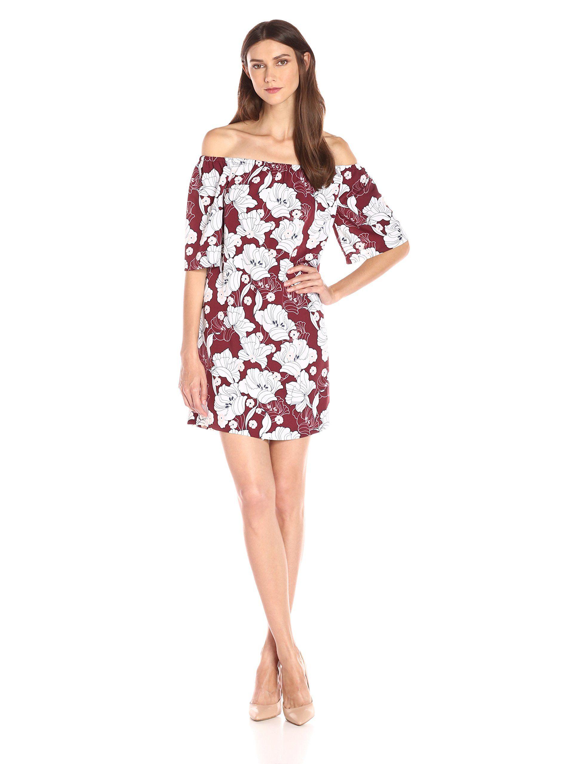 1e6fdf0d0231 Kensie Women s Hippy Floral Printed Dress. Off-the shoulder design. Floral  design. Lightweight.
