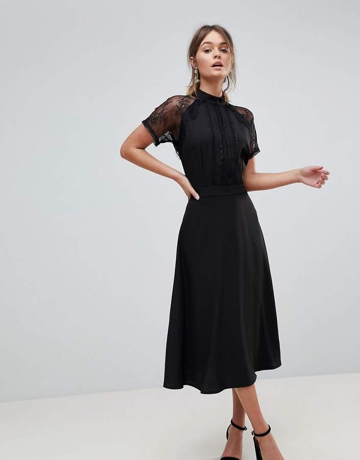 911cfb7d32eec Liquorish A Line Lace Detail Midi Dress | Smart Wear in 2019 | Black ...