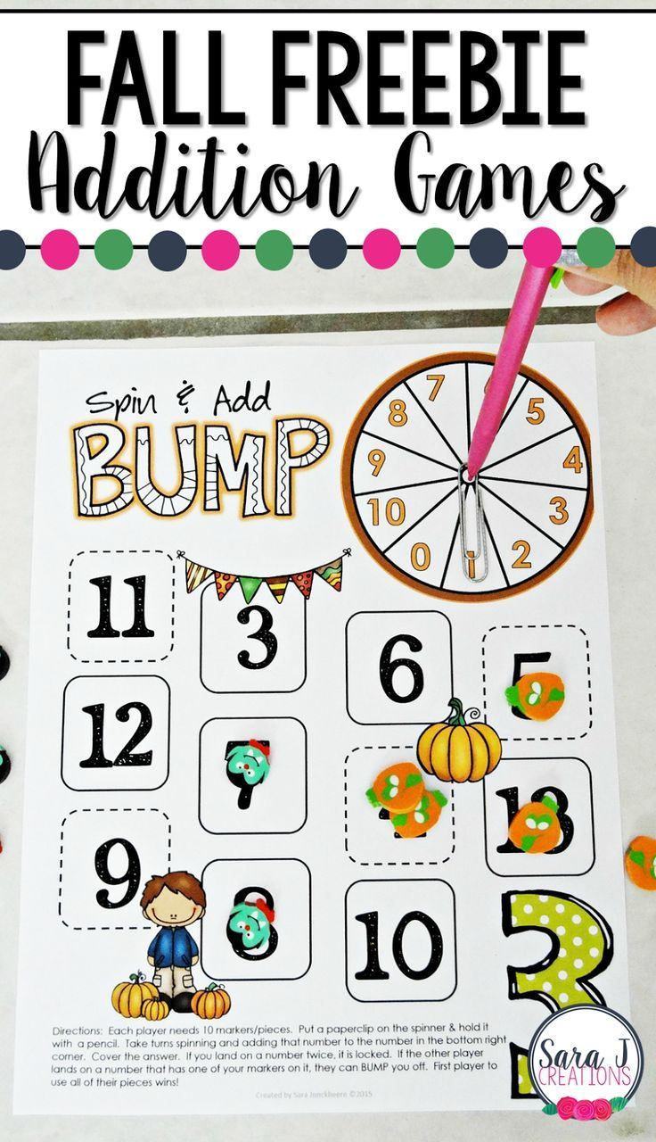 Fall Addition Games | Math, Homeschool and Math addition