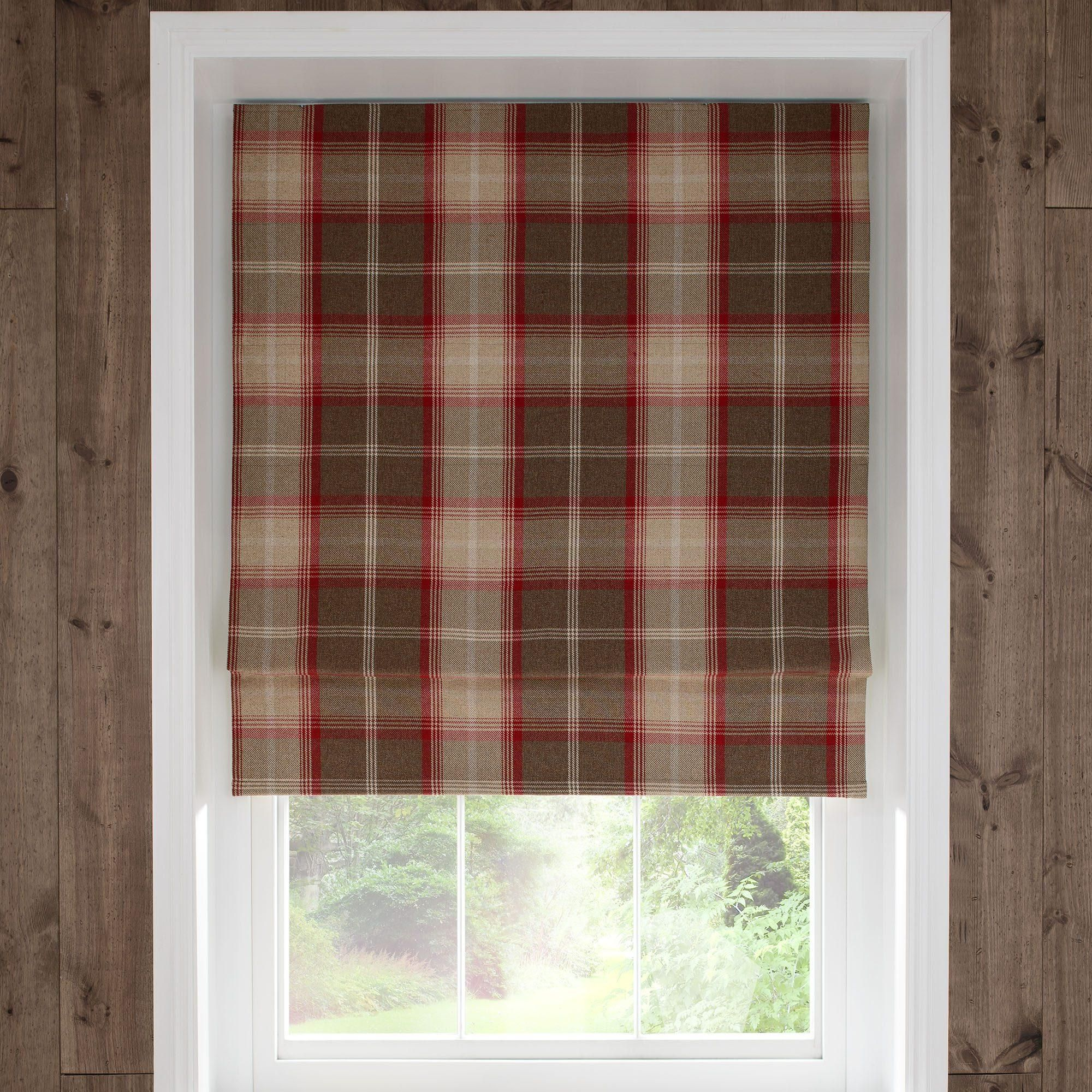 Dunelm Highland Check Red Amp Brown Blackout Roman Blind In