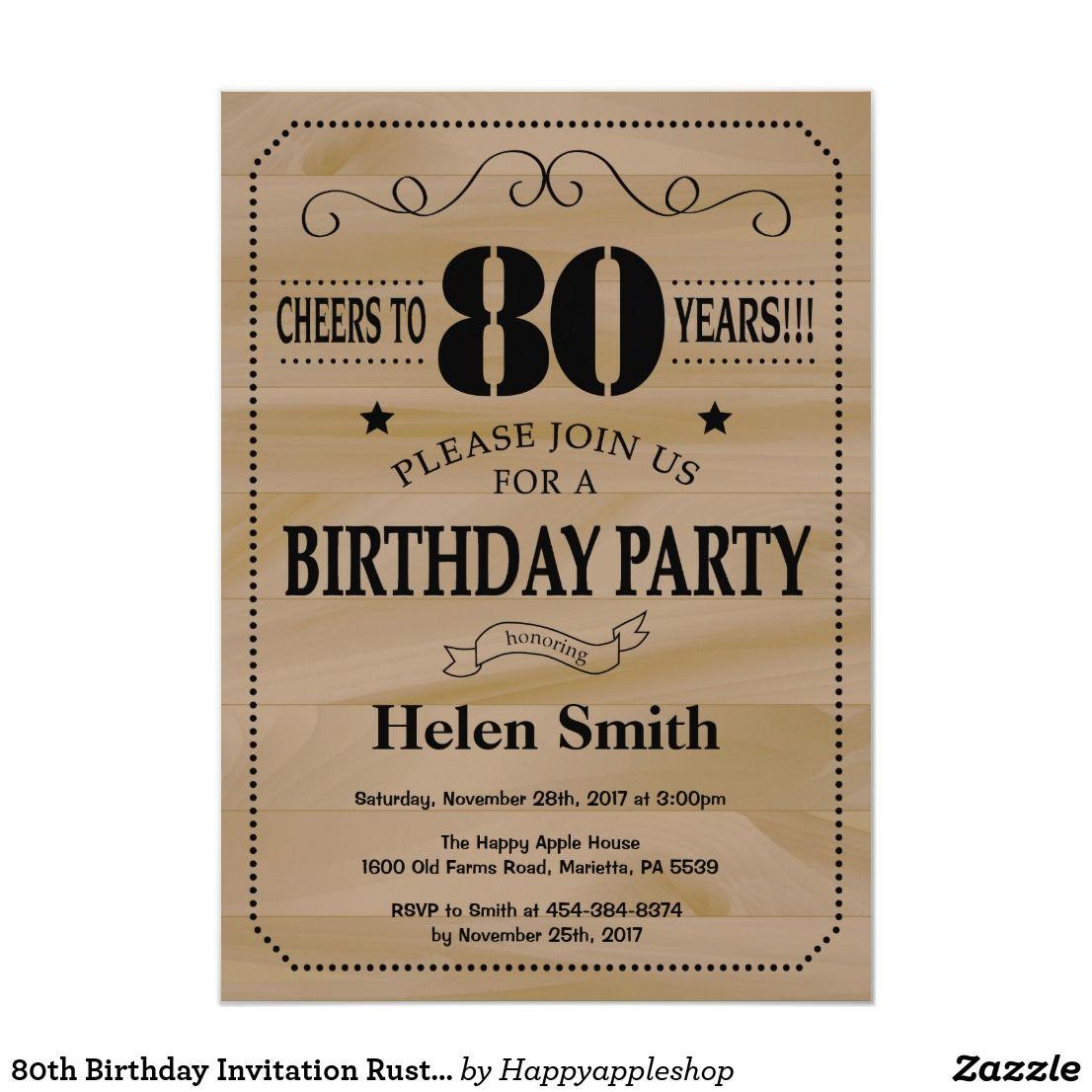 80th Birthday Invitation Rustic Wood 50th