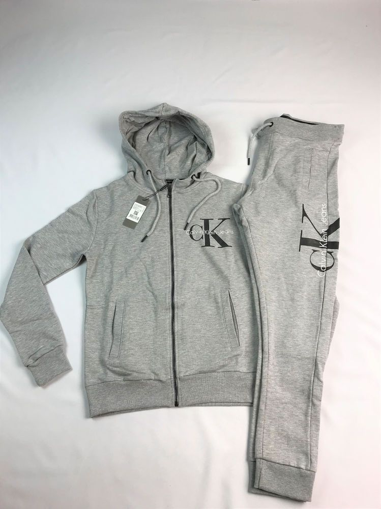 Calvin Klein Tracksuit Mens zip jacket and joggers GREY Size