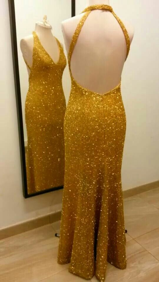 e8a28501a1f1 Vestido largo de noche Cristina. Fantasía canutillos de pedrería dorado.
