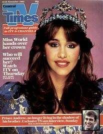Portada de Revista TV TIMES Mariasela Álvarez. Dominicana , elegida Miss Mundo 1982 Londres. Inglaterra. Fuente : Externa. Imagenes de Nuestra Historia