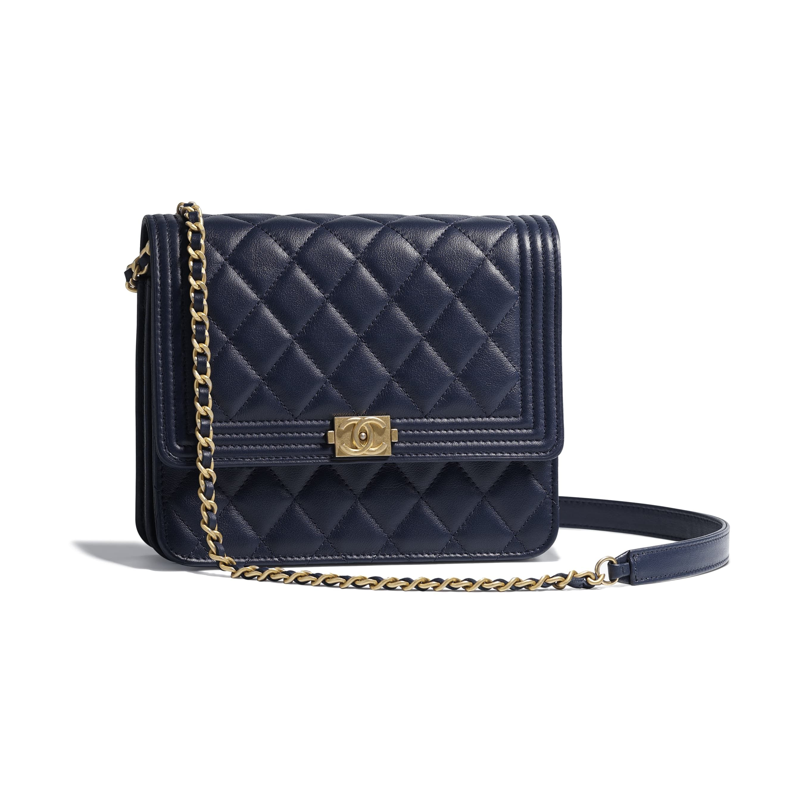 a5c79cea8c7bab BOY CHANEL Clutch with Chain - Navy Blue - Calfskin & Gold-Tone Metal -  Default view - see standard sized version