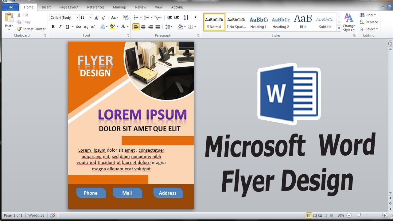 Create a flyer in Word that has an amazing professional look | MS Word T...  in 2020 | Make business cards, Flyer, Ms word
