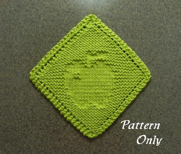 Diagonal APPLE Knitting Pattern, Grandma\'s Favorite, pdf Instant ...
