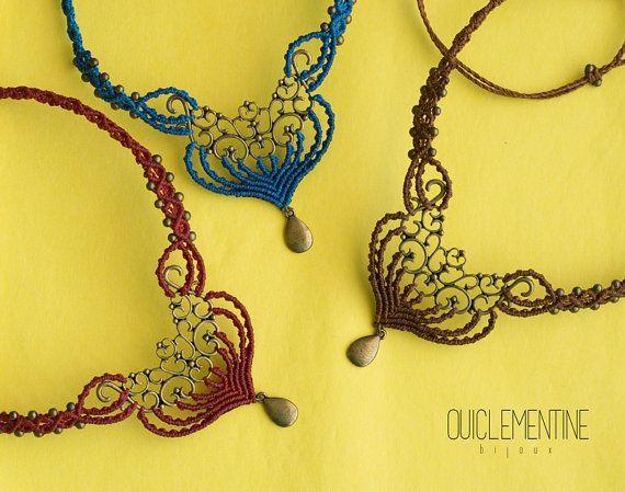 Collana macramè bohemien gioielli collana marrone di OuiClementine
