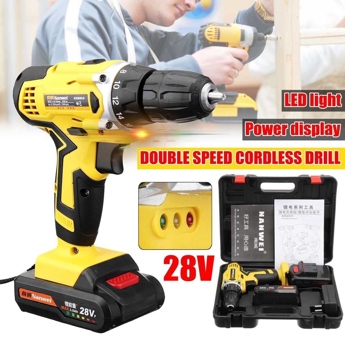 28v Electric Cordless Drill Driver Screwdriver Li Ion Battery Led Light Battery 1 2 Inch 2 Speed Cordless Drill Drill Drill Driver