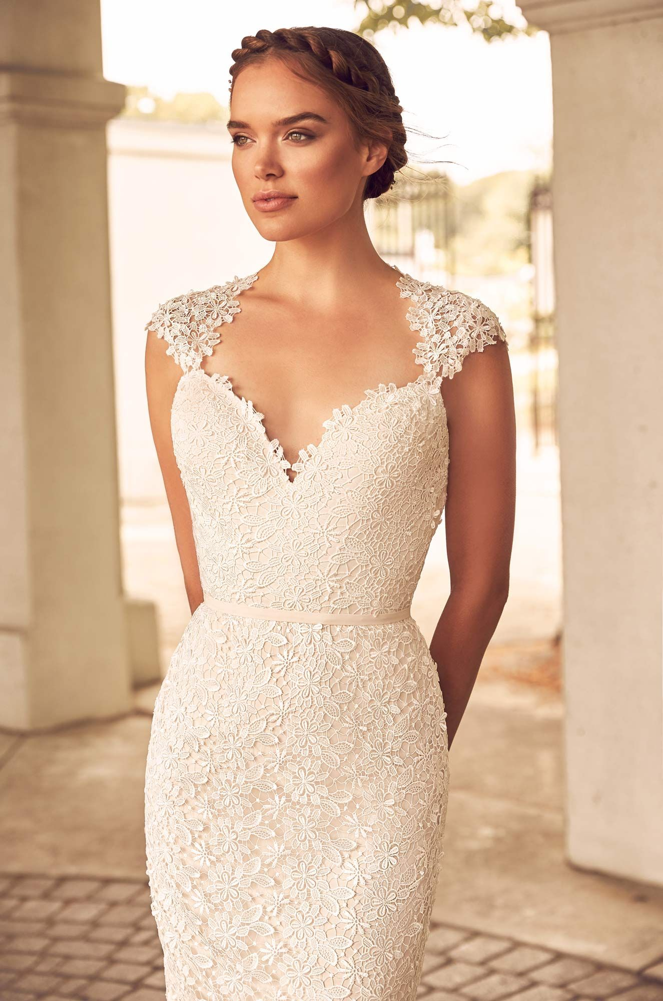 Floral lace wedding dress style paloma blanca lace bodice