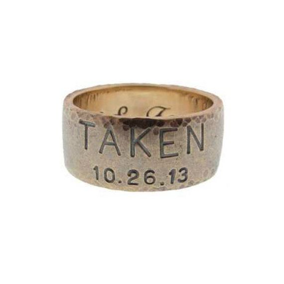 Personalized Men S Gold Duck Band Hand Stamped Wedding Ring Custom Engraved Date Names Taken Mens Metalpressions