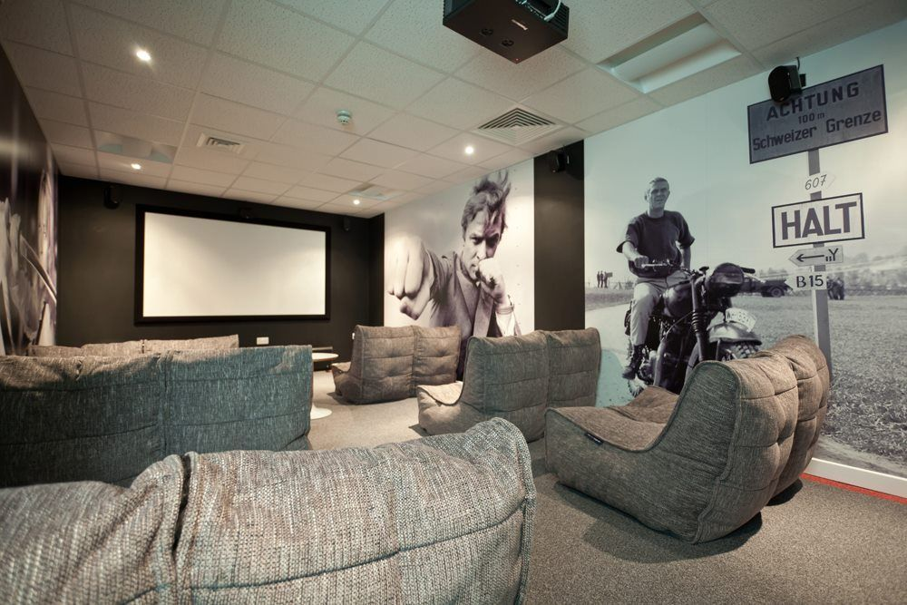 Designer Home Cinema Created With A Projector And